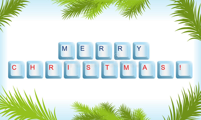 Keyboard with Christmas tree frame. Vector illustration of keyboard with a greeting in Christmas tree frame stock illustration