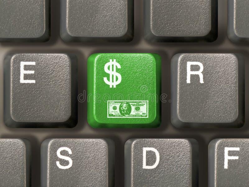 Keyboard (closeup) with Dollar key. (green stock image