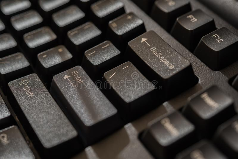 Keyboard for computer server or desktop computer. Focus on enter button on a keyboard in office, business and information technology concept stock photo