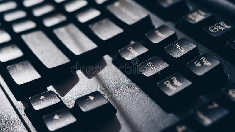 Keyboard for computer server or desktop computer. Focus on home and end button on a keyboard in office, business and information technology concept stock photos