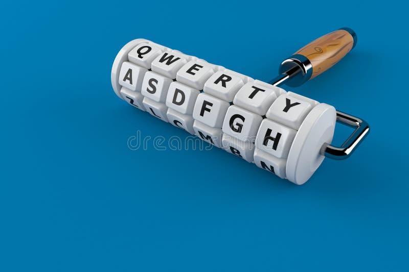 Keyboard concept. Isolated on blue background. 3d illustration stock illustration