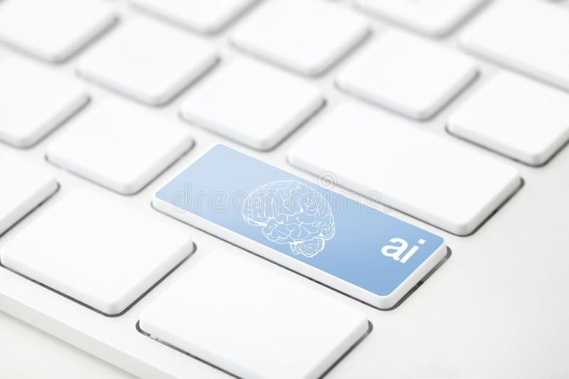 Artificial Intelligence key stock images