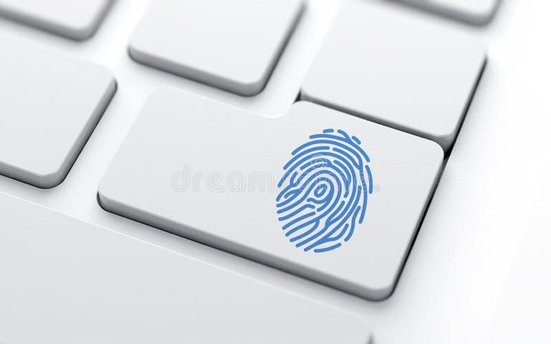 Fingerprint with Selective Focus. Keyboard concepts, Fingerprint with Selective stock illustration