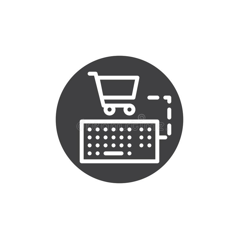 Keyboard connect shopping cart icon vector royalty free illustration
