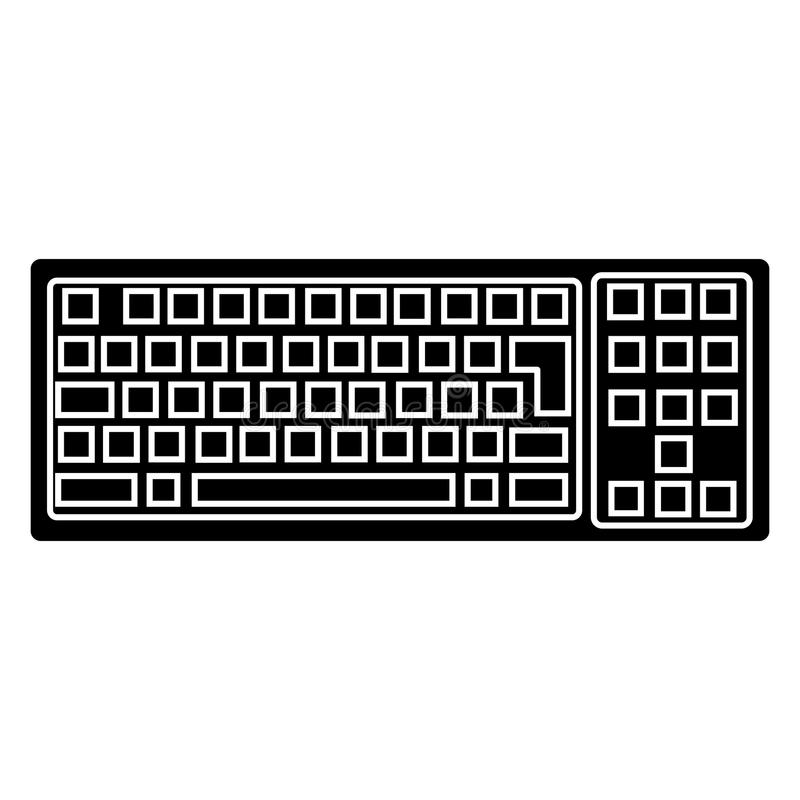 Keyboard detailed icon, vector illustration, black sign on isolated background vector illustration