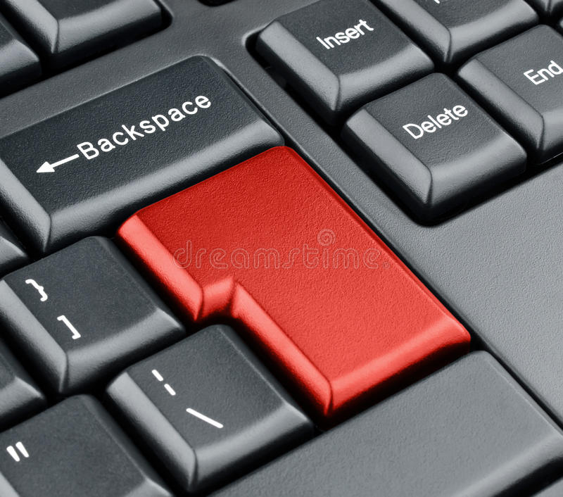 Keyboard empty red enter button. Keyboard concept royalty free stock photos