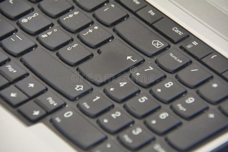 The keyboard enter key. Detail of the enter key on a laptop keyboard royalty free stock images