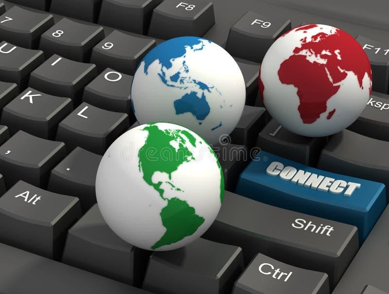 Keyboard and Globes royalty free illustration