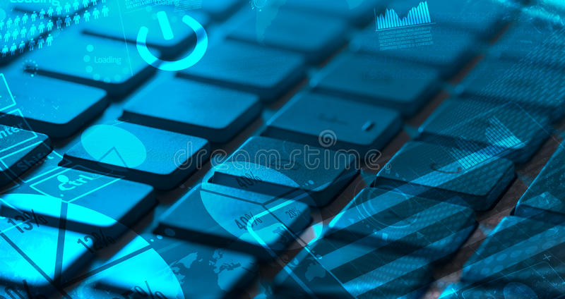 Keyboard With Glowing Charts Royalty Free Stock Photography