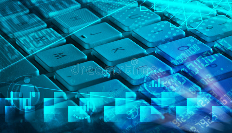 Keyboard with glowing programming codes royalty free stock photos