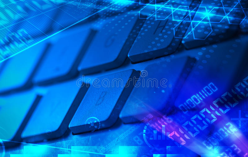 Keyboard With Glowing Programming Codes Stock Illustration