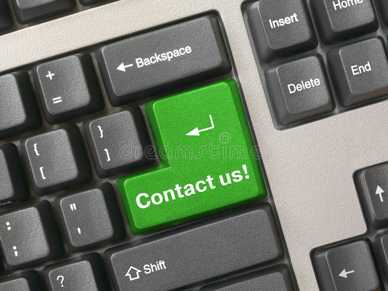 Keyboard - Green Key Contact Us Stock Photos