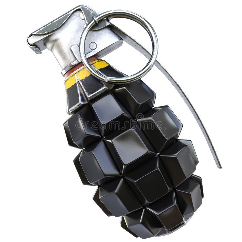 Keyboard grenade concept. Isolated on white background. 3D illustration vector illustration