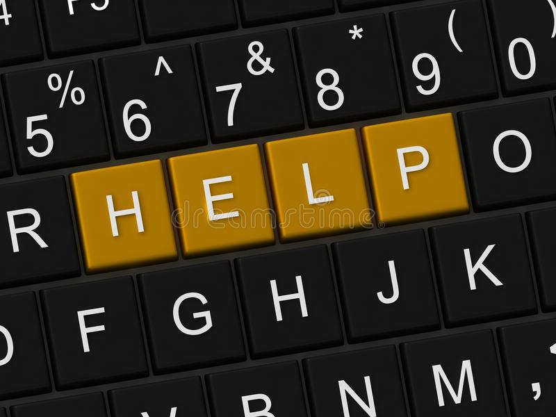 Keyboard with help key. Computer keyboard with help key stock illustration
