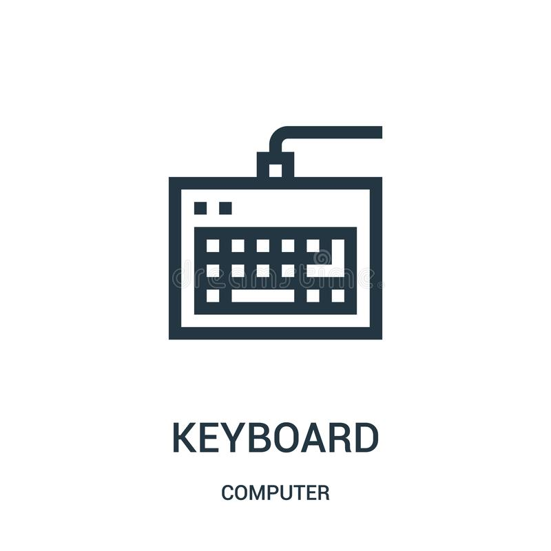 keyboard icon vector from computer collection. Thin line keyboard outline icon vector illustration stock illustration