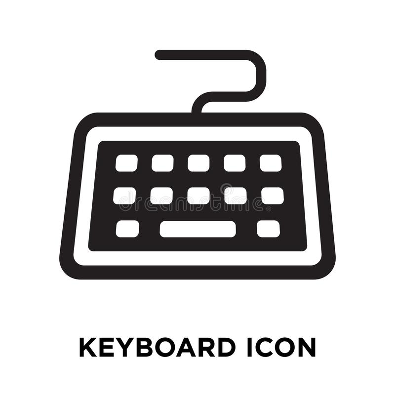Keyboard icon vector isolated on white background, logo concept. Of Keyboard sign on transparent background, filled black symbol vector illustration