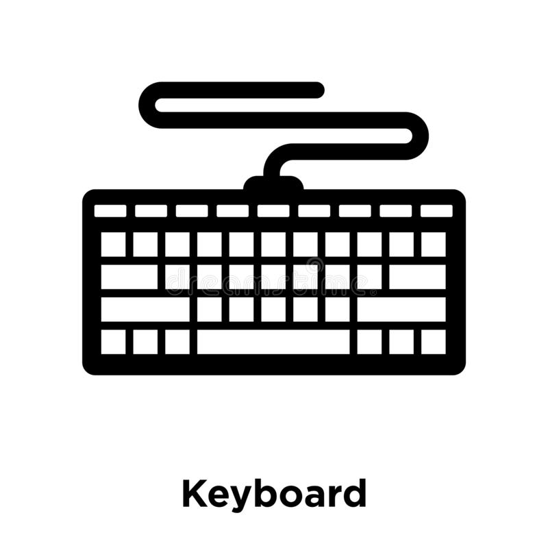 Keyboard icon vector isolated on white background, logo concept. Of Keyboard sign on transparent background, filled black symbol stock illustration