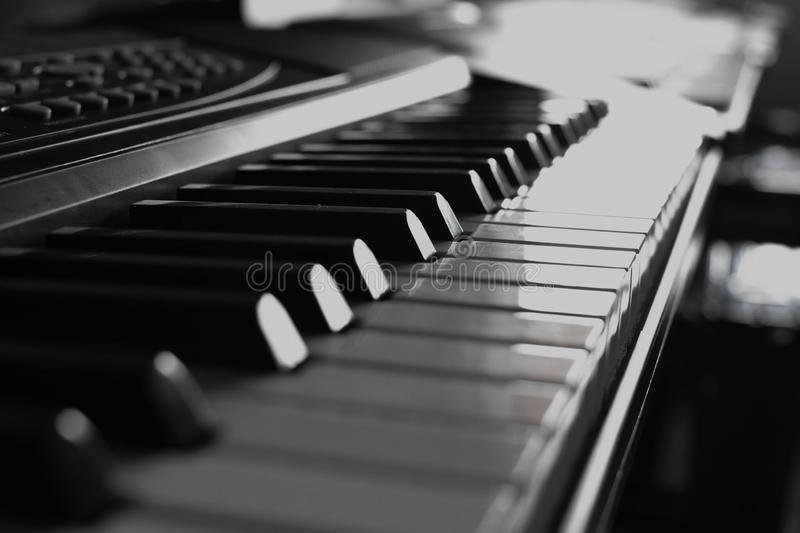 Black color keys are musical instruments stock photography