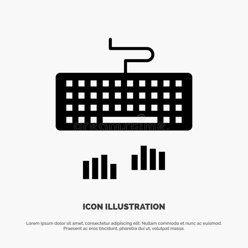Keyboard, Interface, Type, Typing Solid Black Glyph Icon vector illustration