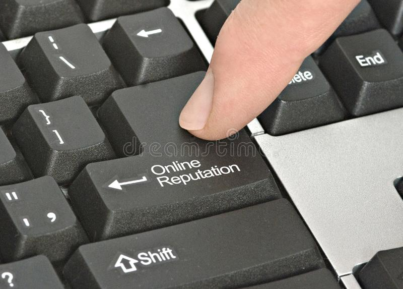 Key for online reputation. Keyboard with key for online reputation stock image