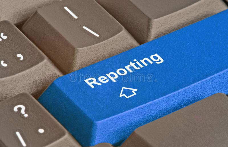 Key for reporting. Keyboard with key for reporting royalty free stock photography