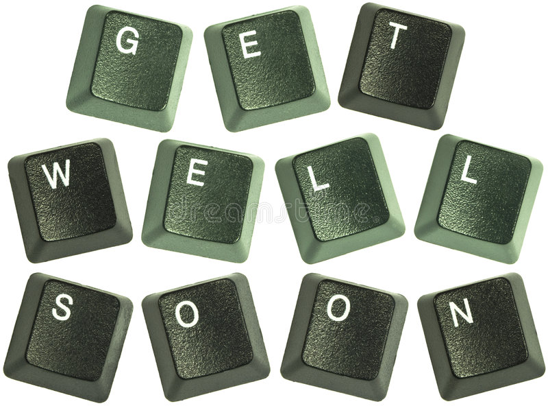 Keyboard key words get well soon stock image
