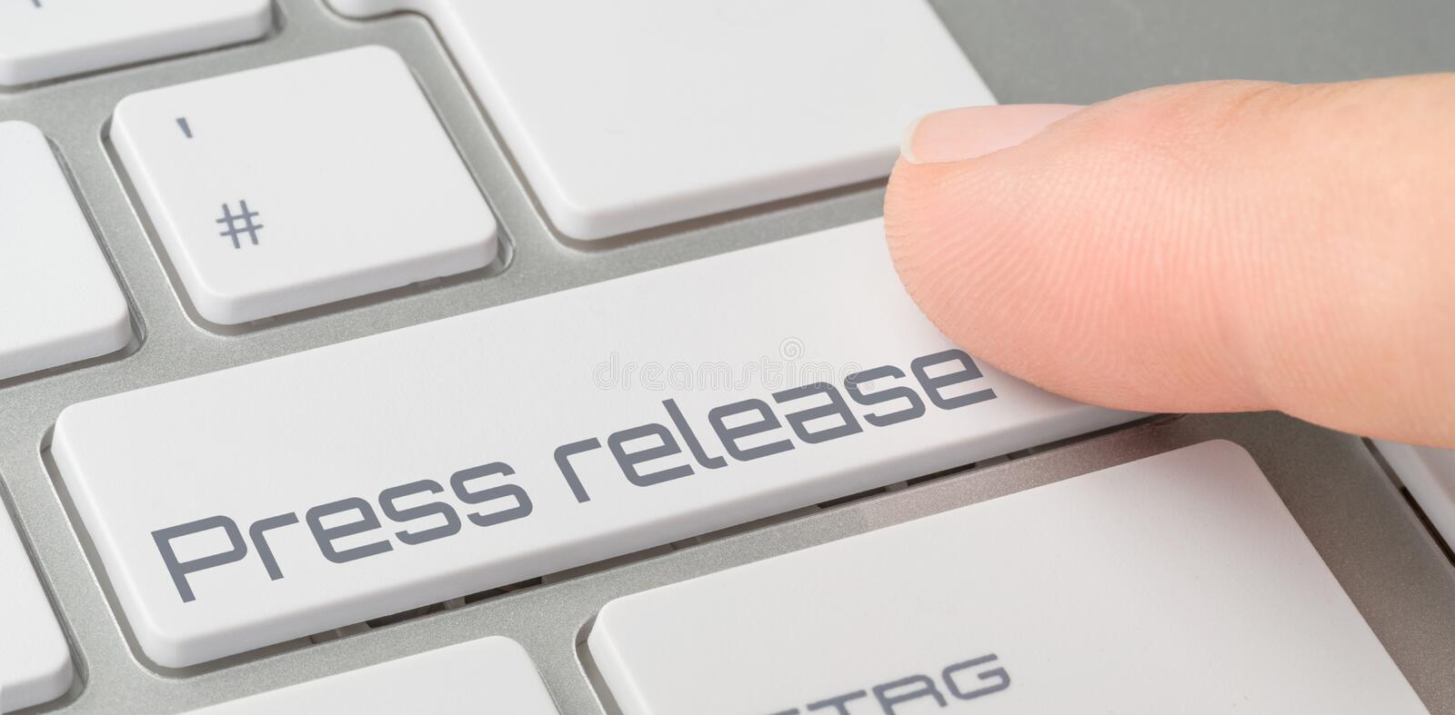 Keyboard with a labeled button - Press release stock images