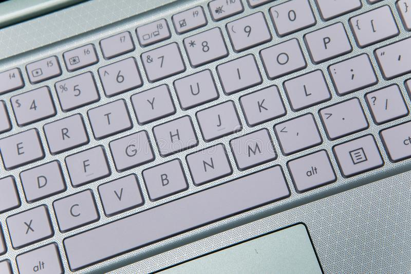 Keyboard of modern laptop computer royalty free stock photography