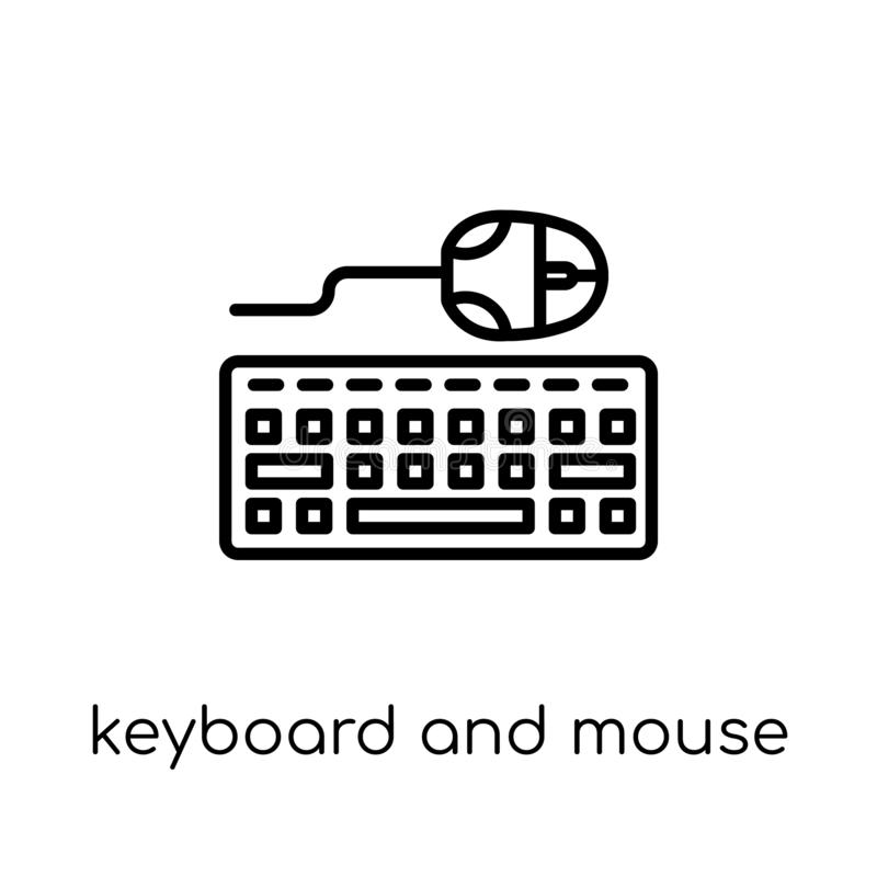 Keyboard and mouse icon. Trendy modern flat linear vector Keyboard and mouse icon on white background from thin line Programming vector illustration