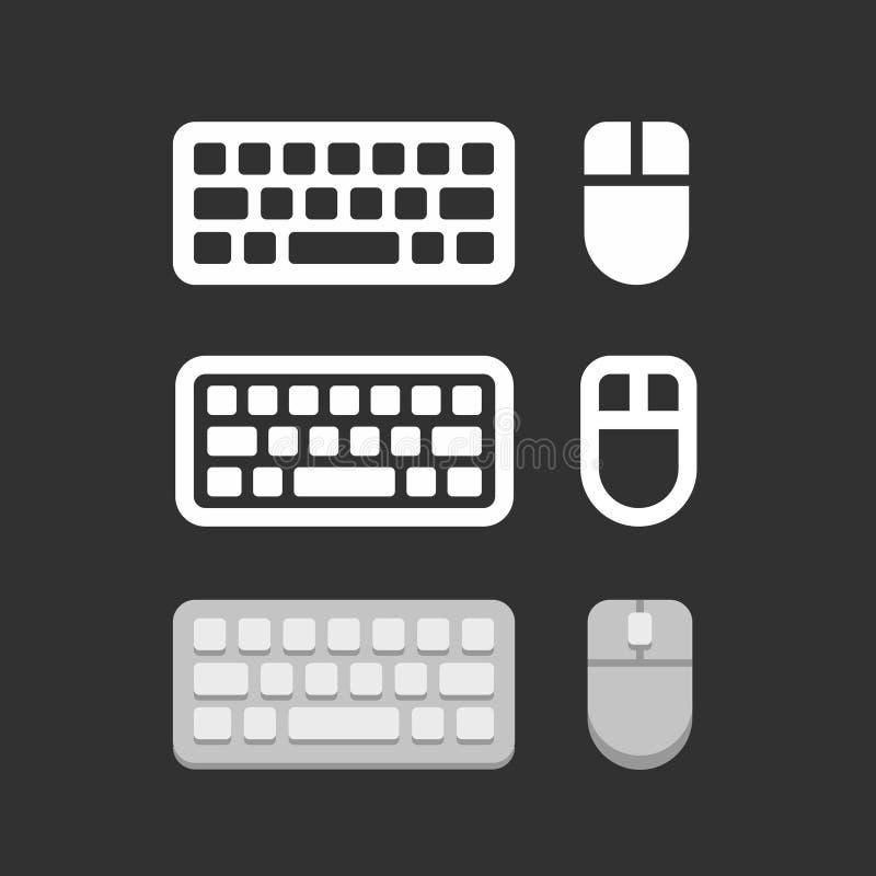 Keyboard and mouse icons. Flat style set, vector illustration on black background royalty free illustration