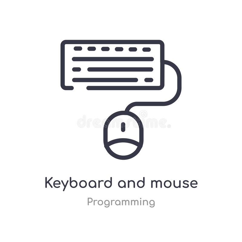 keyboard and mouse outline icon. isolated line vector illustration from programming collection. editable thin stroke keyboard and vector illustration