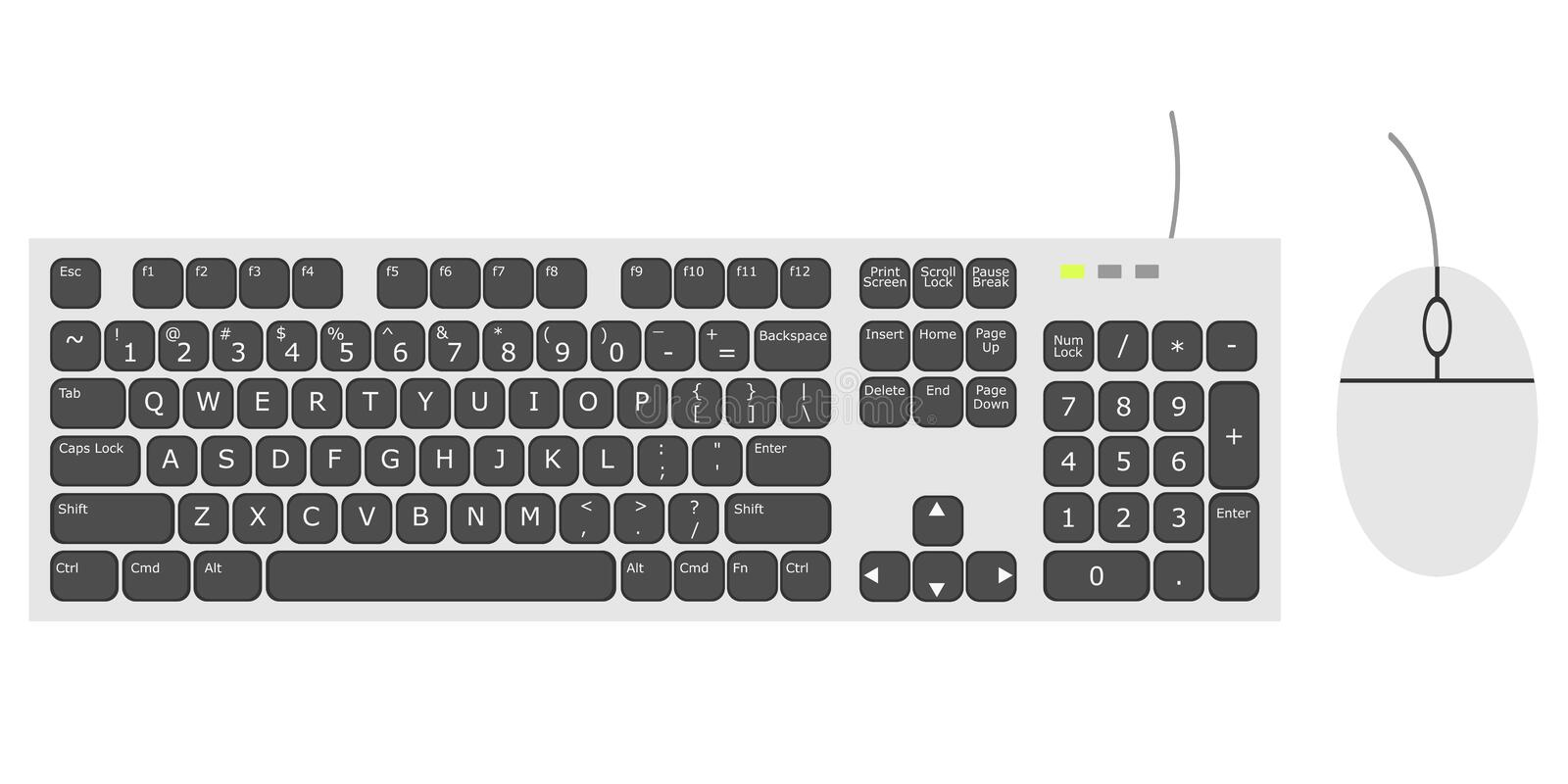 Keyboard and Mouse in white tone and in vector illustration type with white background royalty free stock photography