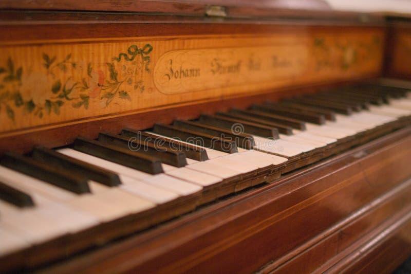 Keyboard of old piano stock photo