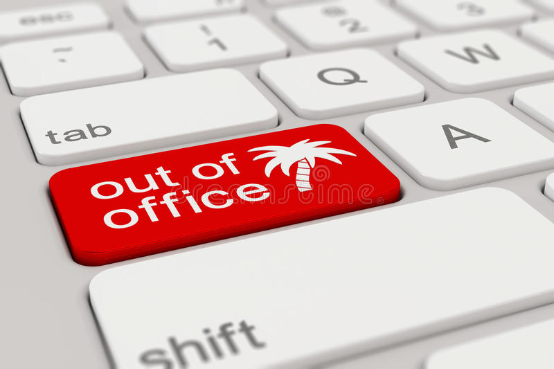 Keyboard - out of office - red stock illustration
