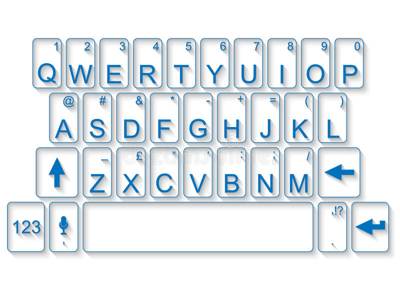 Keyboard pc mac glass with shadow. For web royalty free illustration