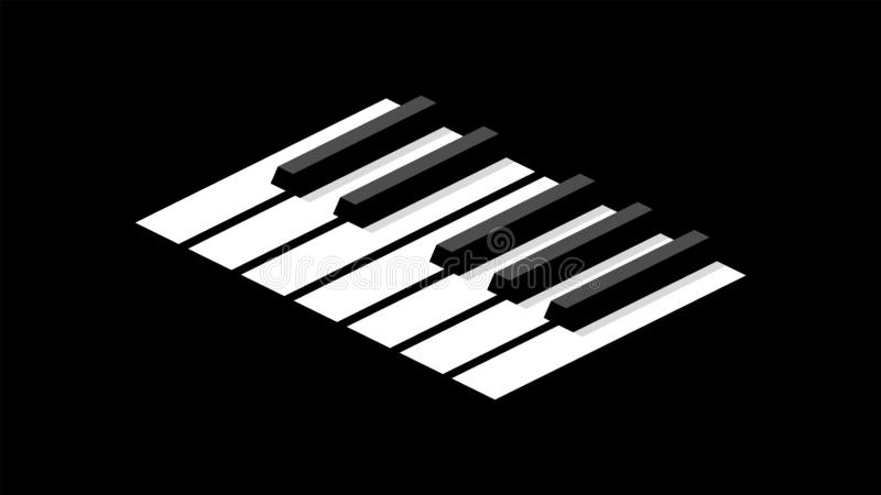 Keyboard piano in isometric. Keyboard piano in an octave for icons or logo on a wide dark background. The contrast is black and white vector illustration