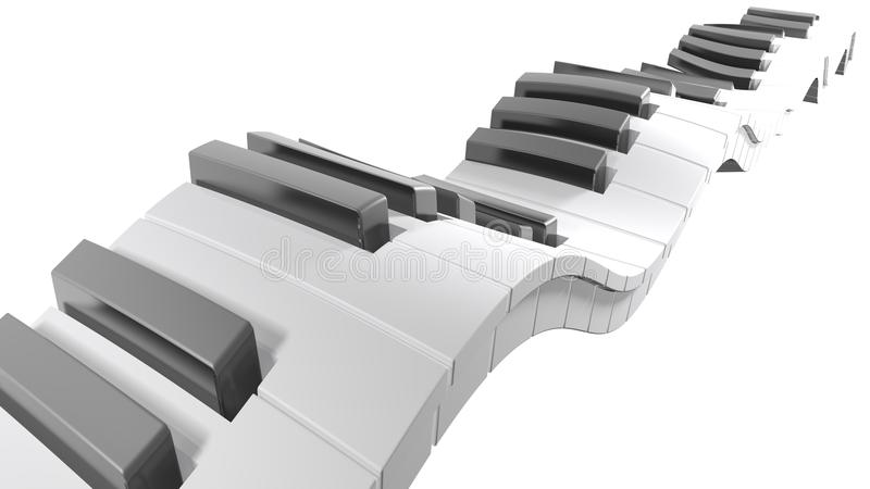 Keyboard of a piano waving on white background - 3D rendering vector illustration