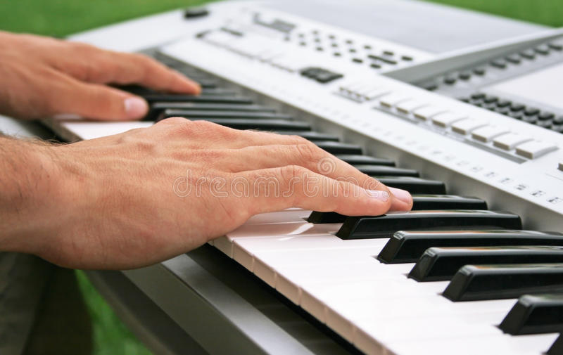 Download Keyboard player stock image. Image of grey, instruments - 14876505