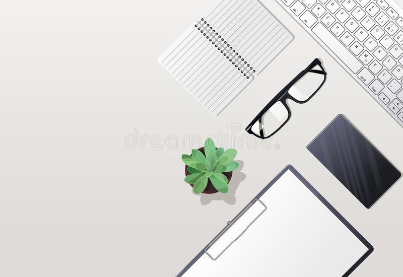 Keyboard and points. The keyboard and points lying on a table vector illustration