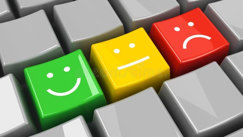 Keyboard positive, neutral and negative isometry. Computer keyboard with positive, neutral and negative keys, three-dimensional rendering royalty free illustration