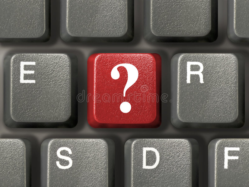 Keyboard with question key stock image