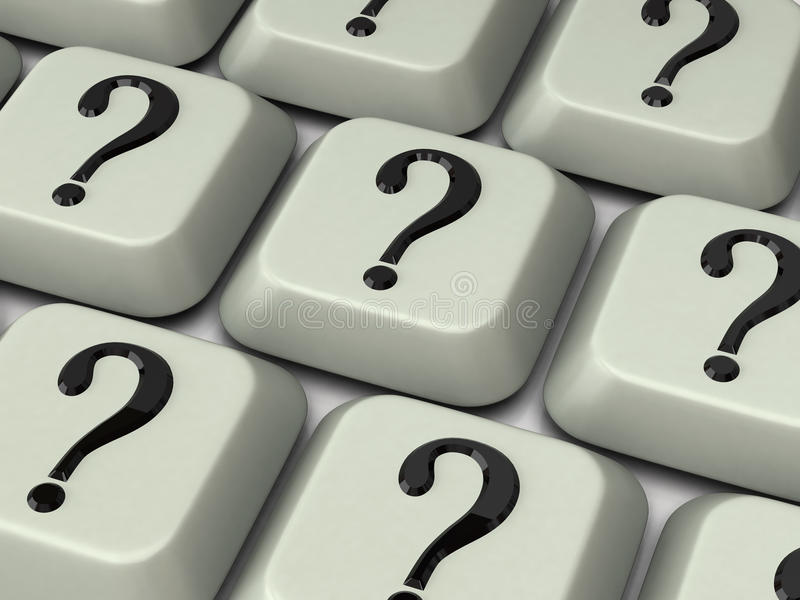 Keyboard with question mark stock photo