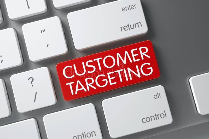 Keyboard with Red Key - Customer Targeting. 3D Illustration. Customer Targeting Concept Slim Aluminum Keyboard with Customer Targeting on Red Enter Key royalty free illustration