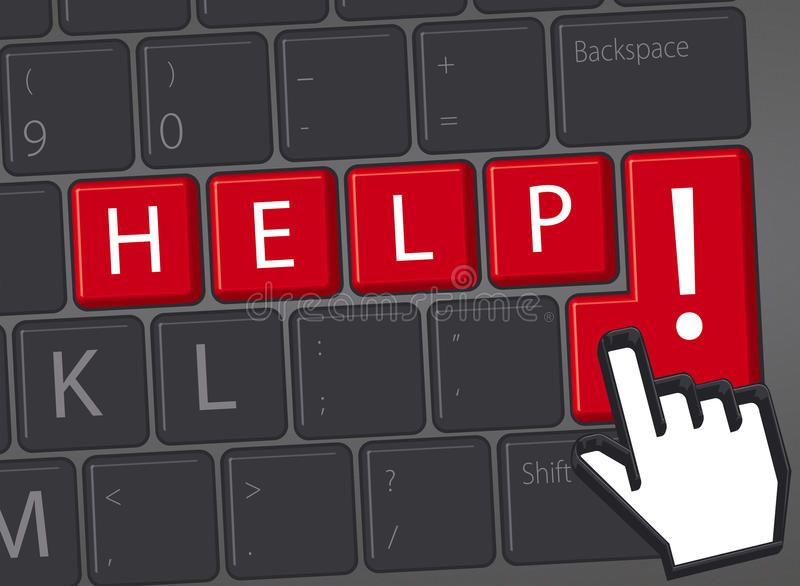 Keyboard with red key Help me. Balck keyboard with red help word royalty free illustration
