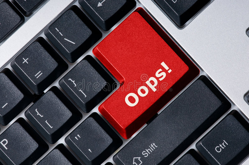 Download Keyboard With Red Key Oops! Stock Photo - Image: 6557364