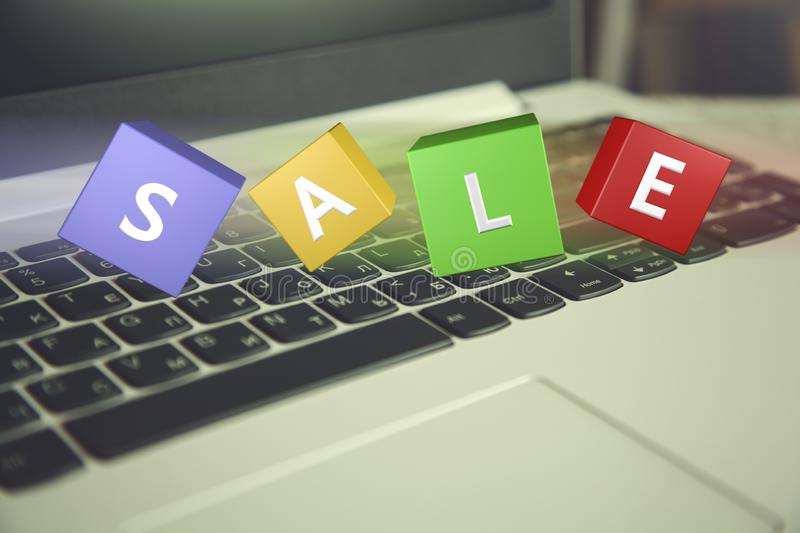 Keyboard with sale text royalty free stock photos