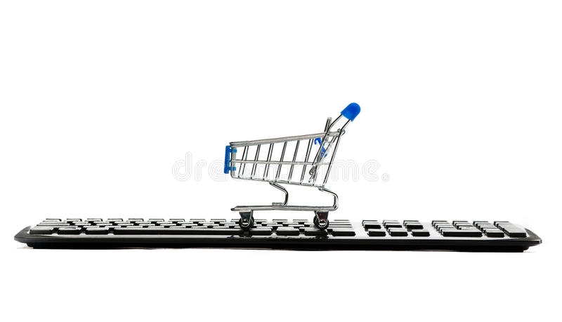 Keyboard and a shopping cart stock photo