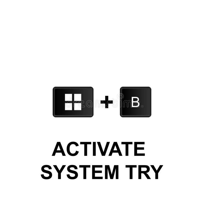 Keyboard shortcuts, activate system try icon. Can be used for web, logo, mobile app, UI, UX. On white background royalty free illustration