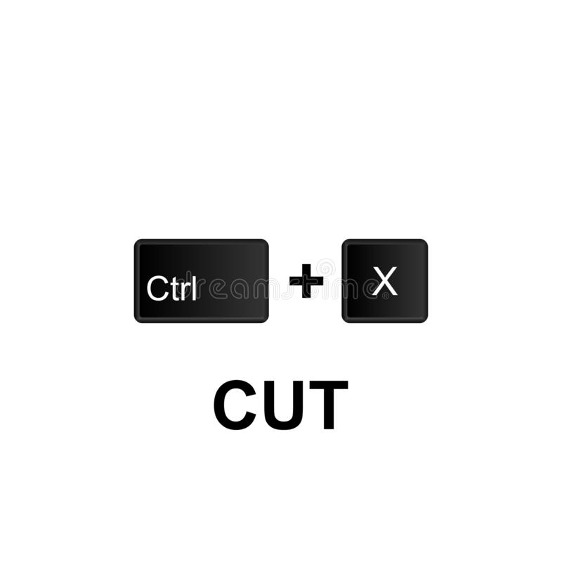 Keyboard shortcuts, cut icon. Can be used for web, logo, mobile app, UI, UX. On white background royalty free illustration