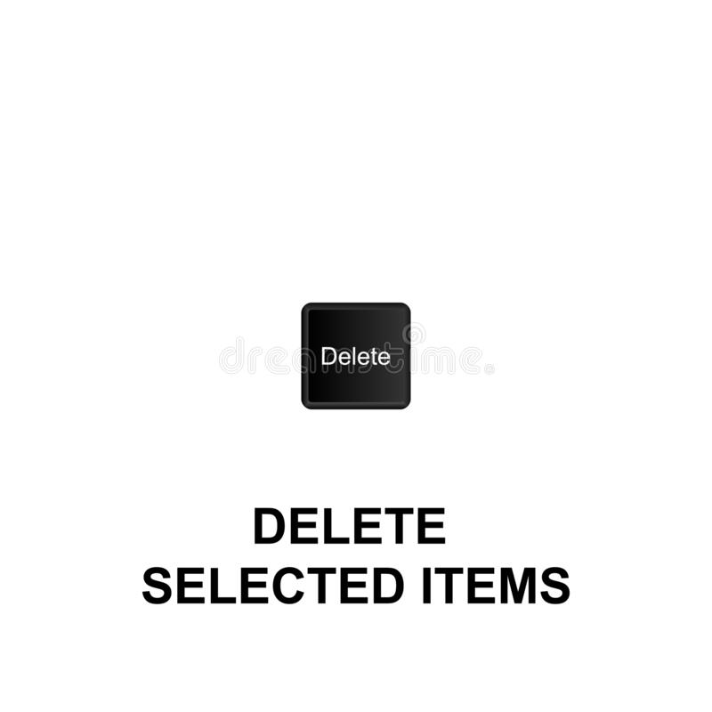 Keyboard shortcuts, delete selected items icon. Can be used for web, logo, mobile app, UI, UX. On white background vector illustration